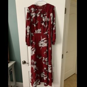 Red floral, long sleeve maxi dress ✨